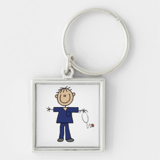 Male Stick Figure Nurse Medium Skin Keychain