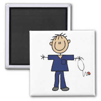 Male Stick Figure Nurse Medium Skin Magnet