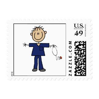 Male Stick Figure Nurse Medium Skin Stamp