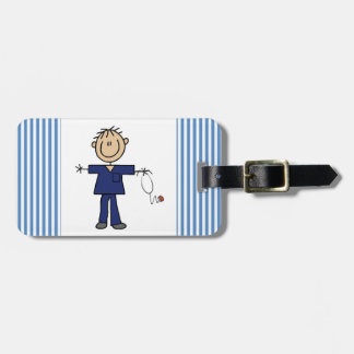 Male Stick Figure Nurse Medium Skin Travel Bag Tag