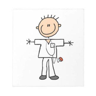 Male Stick Figure Nurse Memo Notepads