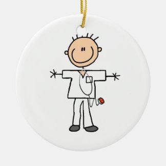 Male Stick Figure Nurse Double-Sided Ceramic Round Christmas Ornament