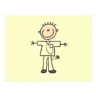 Male Stick Figure Nurse Postcard