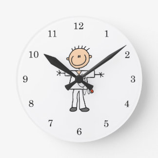 Male Stick Figure Nurse Round Clock