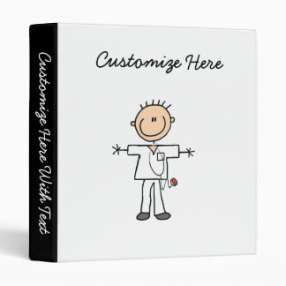 Male Stick Figure Nurse T-shirts and Gifts 3 Ring Binder