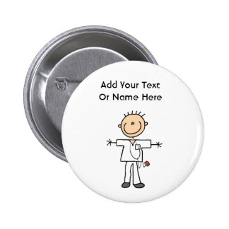 Male Stick Figure Nurse T-shirts and Gifts 2 Inch Round Button
