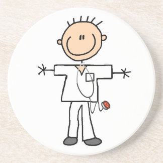Male Stick Figure Nurse T-shirts and Gifts Drink Coaster