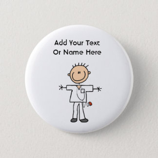 Male Stick Figure Nurse T-shirts and Gifts Pinback Button