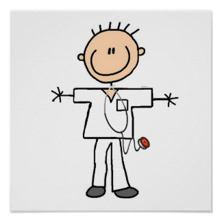 Male Stick Figure Nurse T-shirts and Gifts Poster