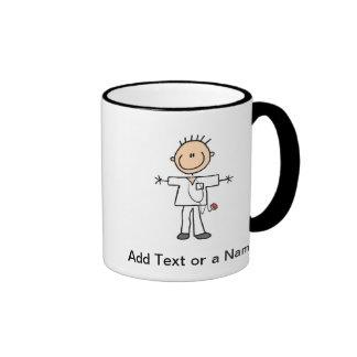 Male Stick Figure Nurse T-shirts and Gifts Ringer Coffee Mug