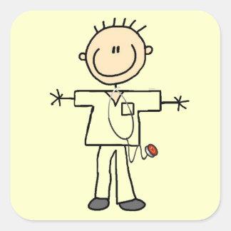 Male Stick Figure Nurse T-shirts and Gifts Square Sticker