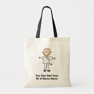 Male Stick Figure Nurse Tshirts and Gifts Budget Tote Bag