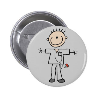 Male Stick Figure Nurse Tshirts and Gifts 2 Inch Round Button