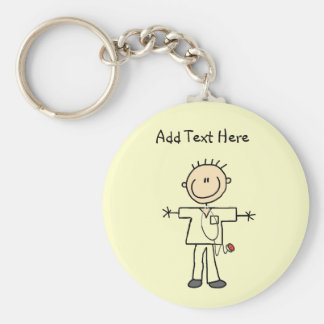 Male Stick Figure Nurse Tshirts and Gifts Keychain