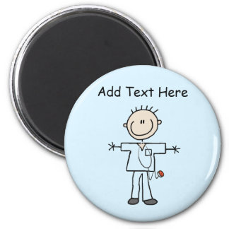 Male Stick Figure Nurse Tshirts and Gifts 2 Inch Round Magnet