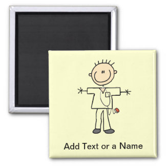 Male Stick Figure Nurse Tshirts and Gifts 2 Inch Square Magnet