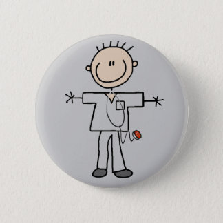 Male Stick Figure Nurse Tshirts and Gifts Pinback Button