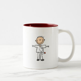 Male Stick Figure Nurse Tshirts and Gifts Two-Tone Coffee Mug