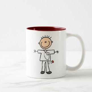Male Stick Figure Nurse Two-Tone Coffee Mug