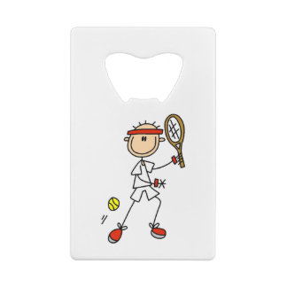 Male Stick Figure Tennis Player Credit Card Bottle Opener