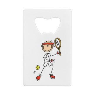 Male Stick Figure Tennis Player Credit Card Bottle Opener