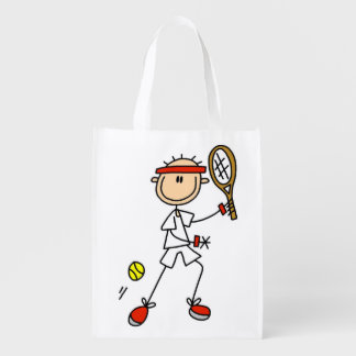 Male Stick Figure Tennis Player Grocery Bags