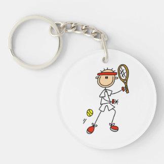 Male Stick Figure Tennis Player Single-Sided Round Acrylic Keychain