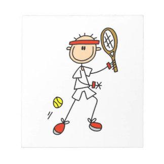 Male Stick Figure Tennis Player Memo Note Pad