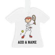 Male Stick Figure Tennis Player Ornament