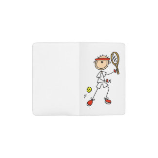 Male Stick Figure Tennis Player Pocket Moleskine Notebook Cover With Notebook