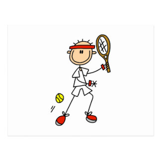 Male Stick Figure Tennis Player Postcard