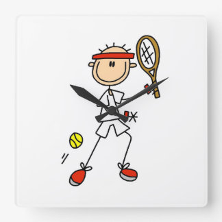 Male Stick Figure Tennis Player Square Wall Clock