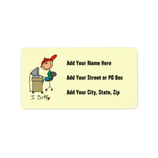 Male Stick Figure Web Surfer Custom Address Label
