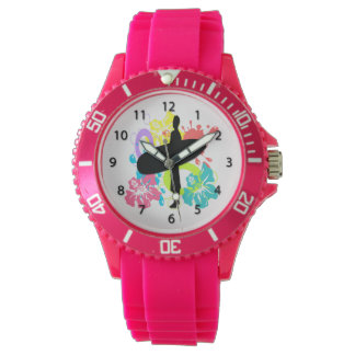 Male Surfer, Colorful Hibiscus Watches for Women