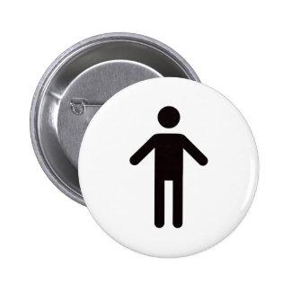 Male symbol, black man on white background button