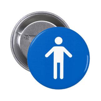 Male symbol, classic blue and white pinback button