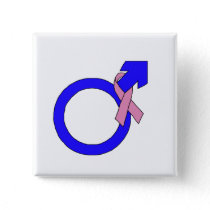Male Symbol of Breast Cancer Support Button