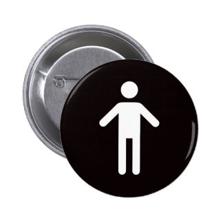 Male symbol, white man on black background pinback button