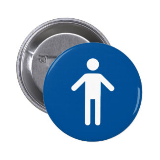 Male symbol white man on blue background button