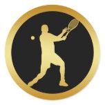 MALE TENNIS PLAYER GOLD CLASSIC ROUND STICKER
