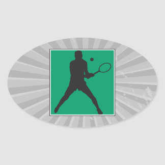 male tennis player silhouette design oval sticker