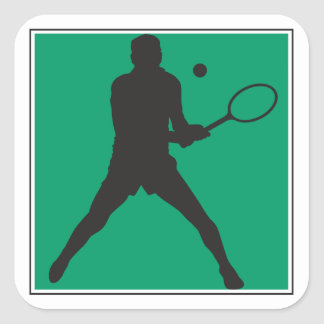 male tennis player silhouette design square sticker