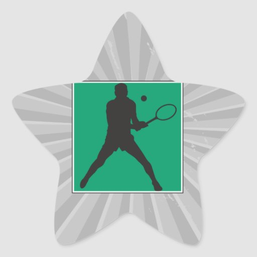 male tennis player silhouette design star sticker