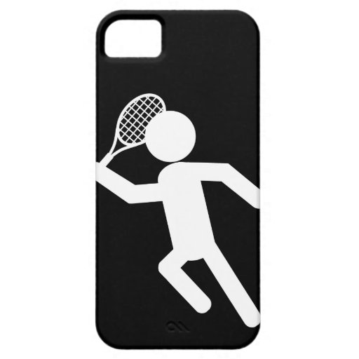 Male Tennis Player - Tennis Symbol (on Black) iPhone 5 Cover