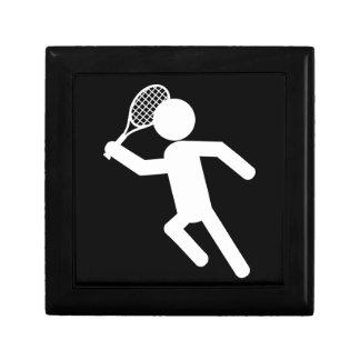 Male Tennis Player - Tennis Symbol (on Black) Keepsake Box