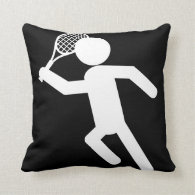 Male Tennis Player - Tennis Symbol (on Black) Throw Pillow