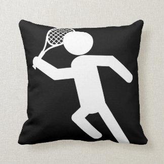 Male Tennis Player - Tennis Symbol (on Black) Throw Pillows