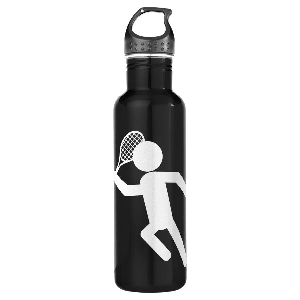 Male Tennis Player - Tennis Symbol (on Black) Water Bottle
