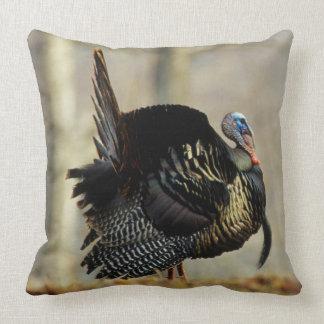 Male turkey strutting, Illinois Throw Pillow