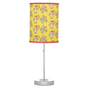 Halloween Themed Male voodoo doll running from a female in love desk lamp